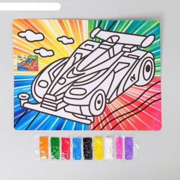 Фреска с цветным основанием суперкар 9 цветов песка по 2 г