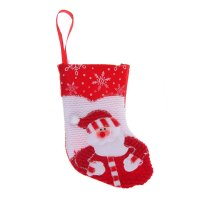 Носок для подарка вязаный дед мороз (бело-красный)
