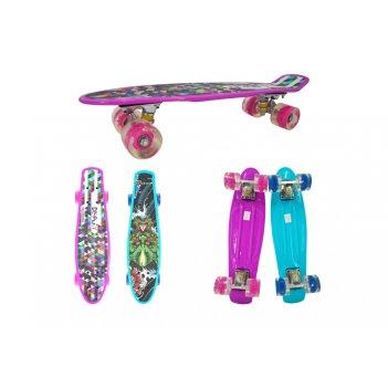 Скейт navigator пласт.,кол.pu со светом 60х45мм, втулки pu, алюм.траки,56х