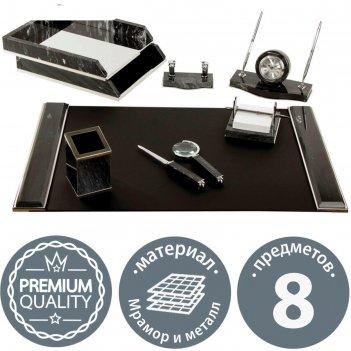 Набор настольный galant из мрамора, 8 предметов+часы, черный 231192