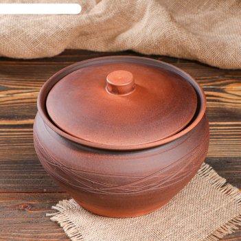 Горшок для запекания бабушкин, декор, узор, 2.7 л