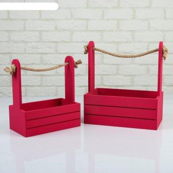 Набор кашпо деревянных 2 в 1 (25x15x30; 21x12x23 см) dear, ручка канат, бо