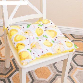 Подушка на стул, размер 45 x 45 см, принт груша