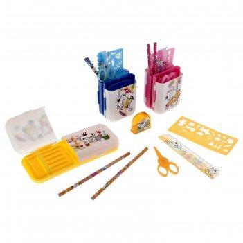 Настольный набор детский пенал-трансформер из 7 предметов: подставка, ножн