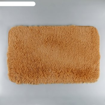 Коврик для ванной пушистик 50х80 см, светло-коричневый