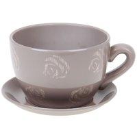 Горшок для цветов с поддоном 2250 мл чайная роза кофе с молоком