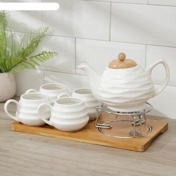 Набор чайный эстет, 5 предметов: чайник 1 л,4 кружки 150 мл, на деревянной