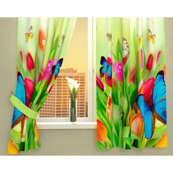 Фотошторы кухонные бабочки, размер 145х160 см-2 шт, габардин 02302