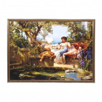 Картина отдых в саду на гамаке 53*73 см