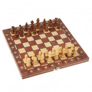 Шахматы шашки нарды 3в1, дерево, на магнитах,29*4*14,5см