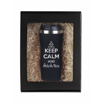 Термокружка keep calm черная в подарочной упаковке