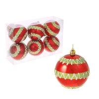 Набор шаров пластик d-8 см 6 шт зиг заг красный