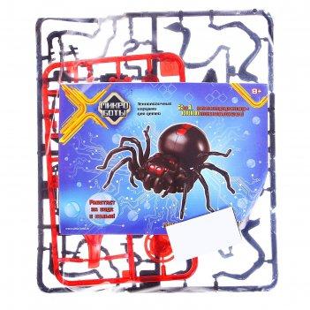 Микроботы паук-конструктор 2в1 черная вдова в пак.