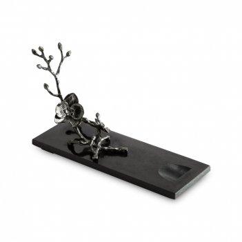 Подставка для бутылки «черная орхидея», размер: 28 х 20 см, материал: мрам