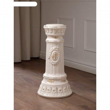 Колонна белая, золотистый декор, 71 см