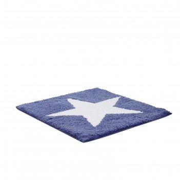 Коврик для ванной комнаты star, синий, 55x50 см