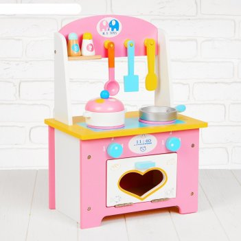 Игровой набор кухня с сердечком, деревянная посуда в наборе msn17064