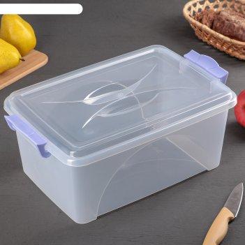 Контейнер пищевой 7,5 л с крышкой и ручками, прямоугольный, цвет микс