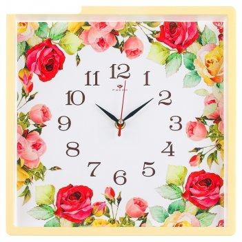 Часы настенные квадратные розы, 30х30 см, обод жёлтый