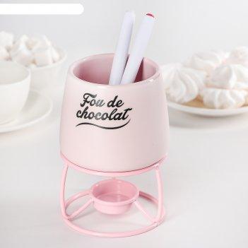 Набор для фондю 10х11,8 см сладкоежка, 2 шпажки, цвет розовый