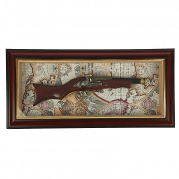 Сувенирное изделие в раме, багет классика, ружье обрез, на карте мира 28*5