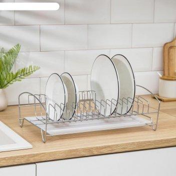 Сушилка для посуды с поддоном, 39x25x12 см, цвет хром