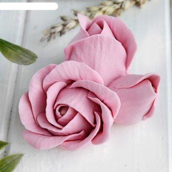 Силиконовая форма для мыла бутон розы тройной