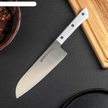 Нож кухонный сантоку samura harakiri, лезвие 17,5 cм, сталь aus-8, белая р
