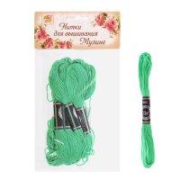 Нитки для вышивания мулине 8 м №913, цвет зеленый