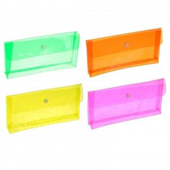 Пенал пластиковый erichkrause glossy neon пвх, микс 4в 50518