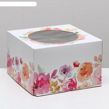 Кондитерская упаковка с окном, цветы, 30 х 30 х 19 см