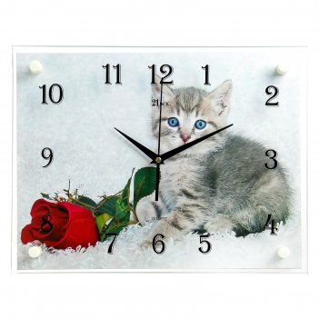 Часы настенные, серия: животный мир, котенок и роза, 30х40 см