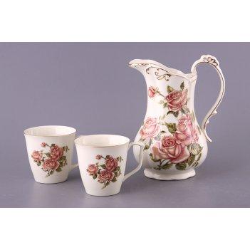 Набор 3 пр.корейская роза: кувшин+2 стакана 1200...