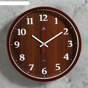 Часы настенные круглые дерево, 30 см, обод коричневый