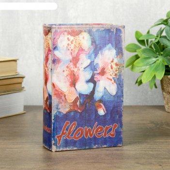 Сейф-книга дерево кожзам орхидеи. акварель 17х11х5 см