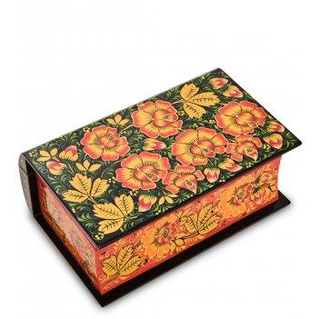 Kh-11 шкатулка-книжка деревянная 175х110 с хохломской росписью