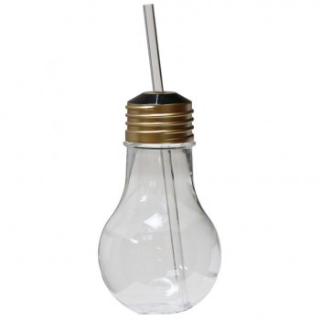 Бокал-лампочка с соломинкой 420мл diligence4us с крышкой (золото)