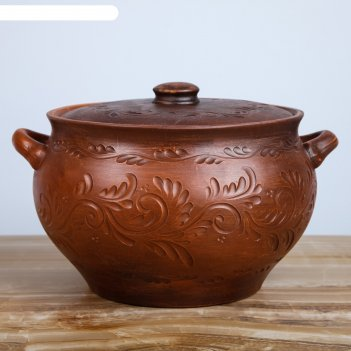 Жаровня декор, красная глина, 6 л