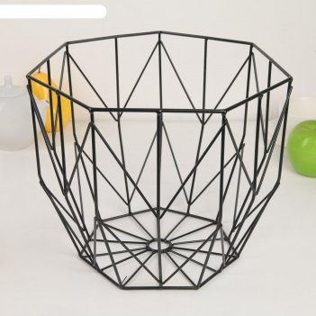 Корзина универсальная «гэтс», 26x26x22 см, металл, цвет чёрный