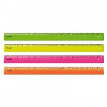 Линейка 40см флюоресцентная, 4 цвета, микс