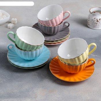 Чайный сервиз вивьен 6 чашек 200 мл, 6 блюдец d-15 см, цвет микс