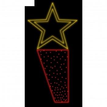 Светодиодная консоль победа, 1.5х0.65м, шнур 8м, 10м (красные диоды), 50вт