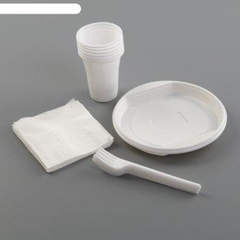 Набор для пикника «летний №1», 6 персон, цвет белый