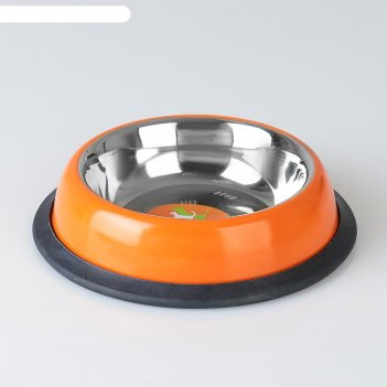 Миска с нескользящим основанием округлая цветная, 230 мл, оранжевая