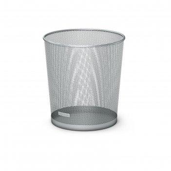 Корзина для бумаг металлическая 13 литров erich krause, серебристая, нержа