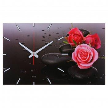 Часы-картина настенные, серия: цветы, розы на серых камнях, 61х37  см, мик
