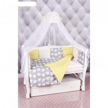 Комплект в кроватку «совята», 18 предметов, бязь, жёлтый/серый