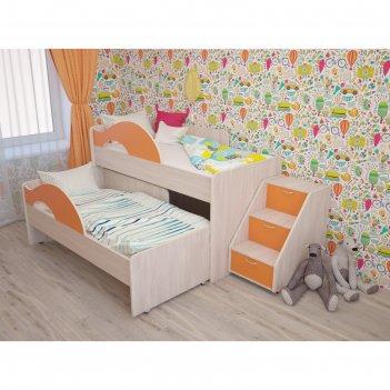 Кровать двухъярусная выкатная матрешка 800х1600 с лестницей оранж/млечный
