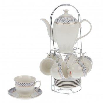 Сервиз чайный рим, 13 предметов: 6 чашек 220 мл, 6 блюдец, чайник