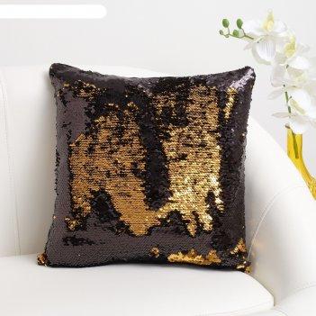 Наволочка декоративная хамелеон 37x37 см, цвет золото - глянцевый чёрный,